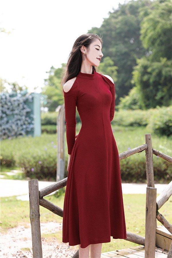 Hualong Elegant Slim Long Sleeve Burgundy Dress