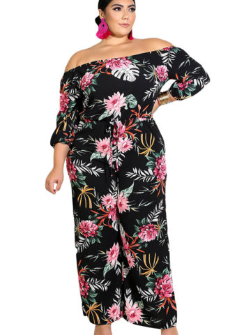 Hualong Off Shoulder Black Plus Size Floral Jumpsuit 2
