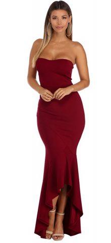 Hualong Off Shoulder Strapless Mermaid Burgundy Long Dress 1