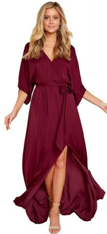 Hualong Party Elegant Slit Burgundy Maxi Dress
