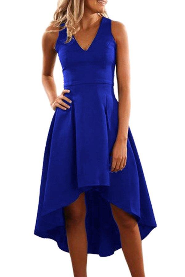 Hualong Sexy Sleeveless Midi Blue Cocktail Dresses