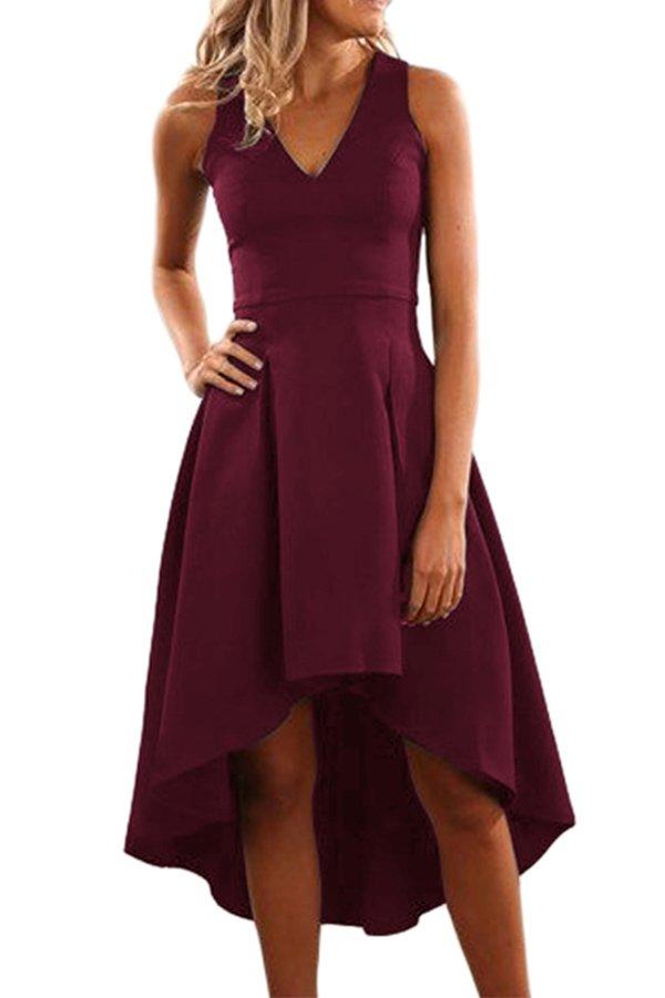 47c2508f532 Hualong Sexy Sleeveless Short Burgundy Cocktail Dress - Online Store ...