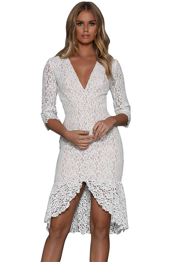 Hualong Sexy V Neck Short White Lace Dress