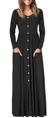 Hualong Black Casual Long Sleeve Button Front Maxi Dress 1