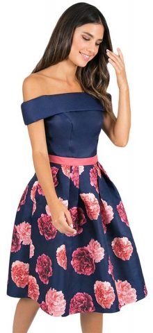 Hualong Blue Top Off The Shoulder Floral Dress