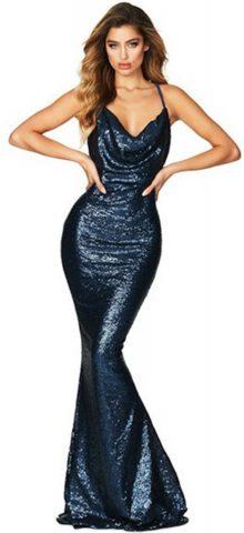 Hualong Elegant Party Navy Mermaid Sequin Dress 1