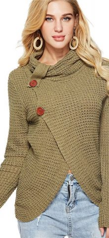 Hualong Women High Neck Green Knit Cardigan