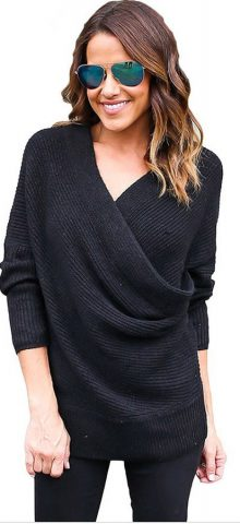 Hualong Cable Knit Ladies Black V Neck Jumper