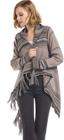 Hualong Cheap Women Fringe Knitted Brown Draped Cardigan