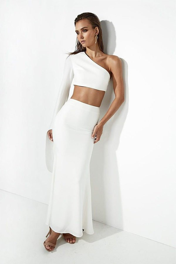 4defce4847a9a5 Hualong Cute White One Sleeve Crop Top And Skirt Set - Online Store ...