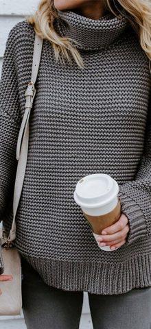 Hualong Fashionable Long Sleeve Womens Grey Turtleneck Jumper