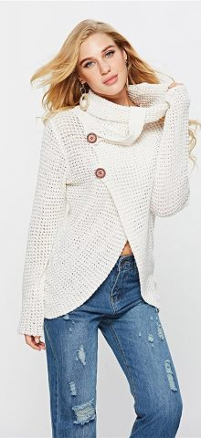 Hualong High Neck Cream Cable Knit Sweater