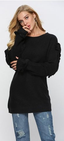 Hualong Knitted Black Womens Plain Long Sleeve T Shirts 2