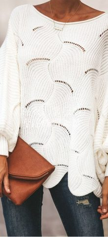 Hualong Knitted Loose Womens White Sweater