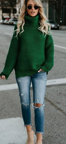 Hualong Long Sleeve Womens Turtleneck Green Polo Neck Jumper