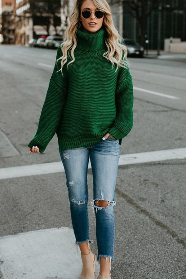 Hualong Long Sleeve Womens Turtleneck Green Polo Neck Jumper