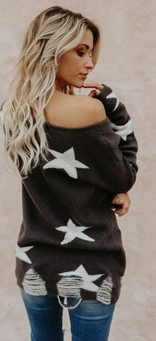 Hualong Off Shoulder Star Womens Knitted Jumpers