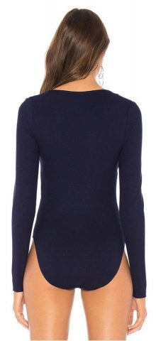 Hualong Sexy Blue Long Sleeve Ribbed Knitted Bodysuit
