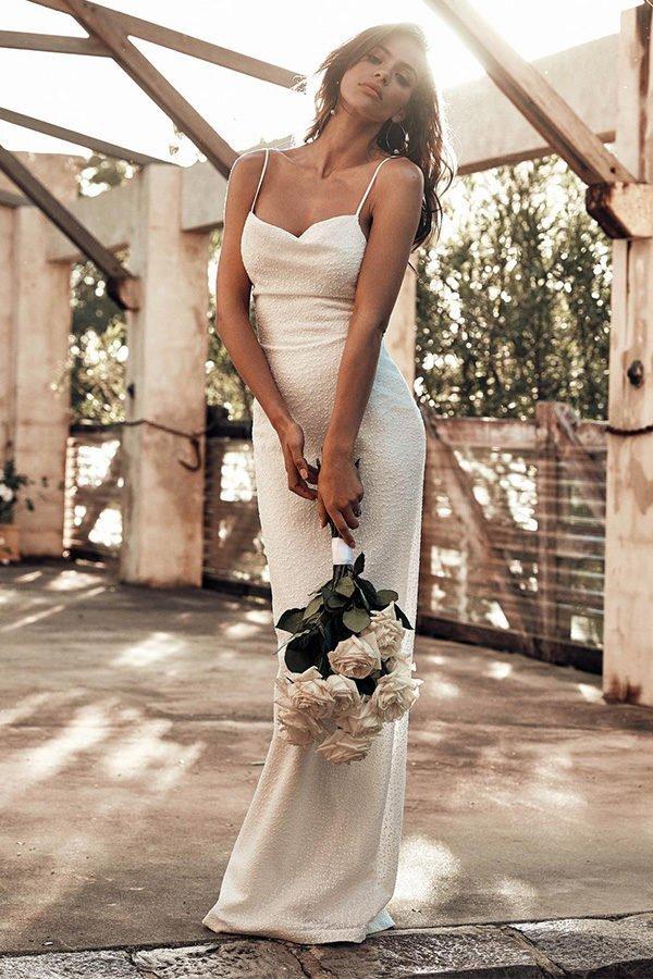 75d3cc02ec9 Hualong Sexy Sleeveless White Strap Maid Of Honor Dresses - Online ...