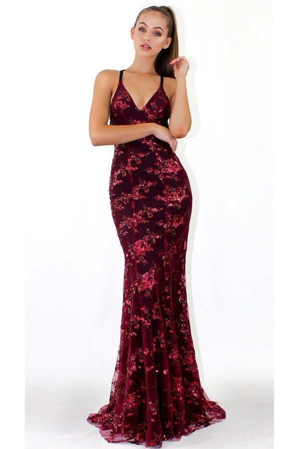 b5c2686a28 Hualong Sexy Strap Long Wine Sequin Evening Gown - Online Store for ...