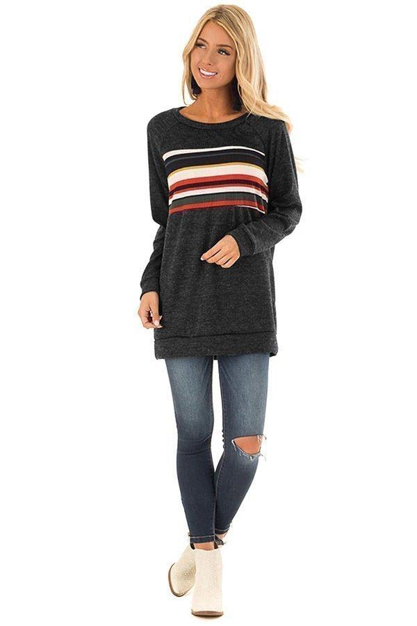 Hualong Striped Loose Black Womens Cotton T Shirts