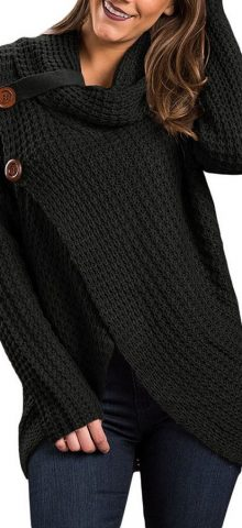 Hualong Women High Neck Black Cardigan Sweater