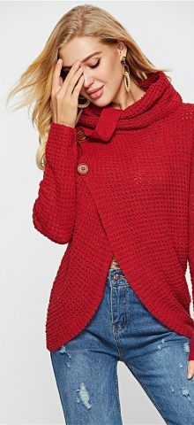 Hualong Women High Neck Red Cardigan Sweater