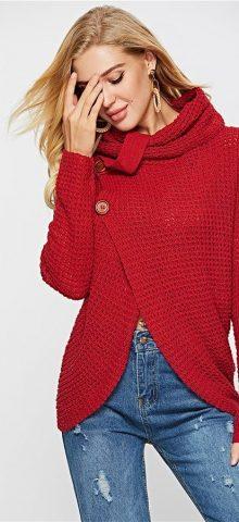 Hualong Women High Neck Red Cardigan Sweater