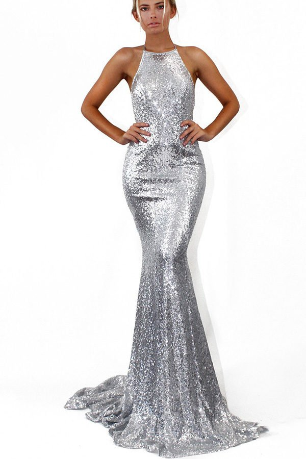 ca137f18e5e Hualong Women Sexy Strap Silver Sequin Maxi Dress - Online Store for ...