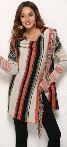 Hualong Women Tassel Poncho Sweater With Sleeves