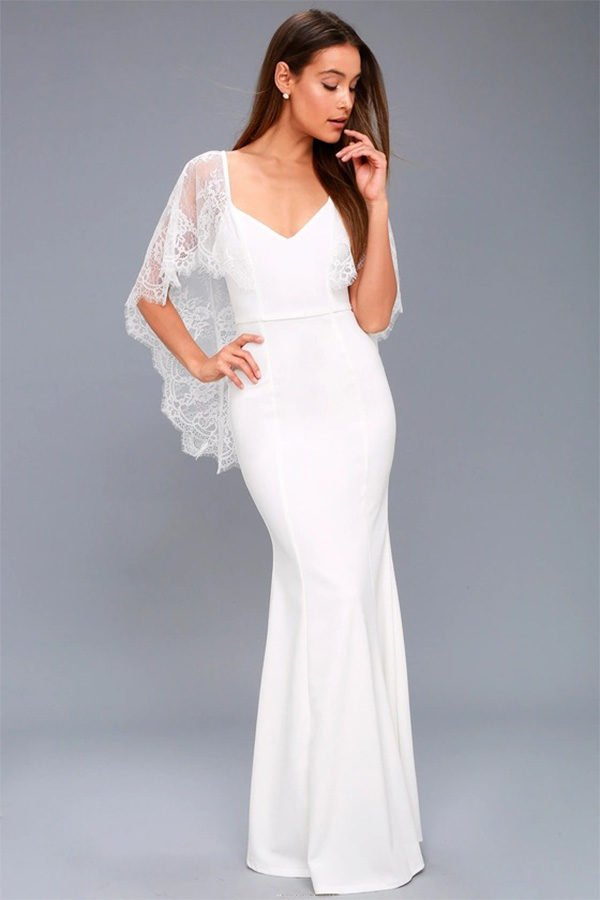 7ec54a44443 Hualong Beautiful Lace Shoulder Long White Flowy Maxi Dress - Online ...