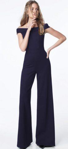 Hualong Blue Off The Shoulder Wide Leg Pants Jumpsuit