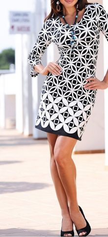 Hualong Casual Long Sleeve Printed Midi Pencil Dress