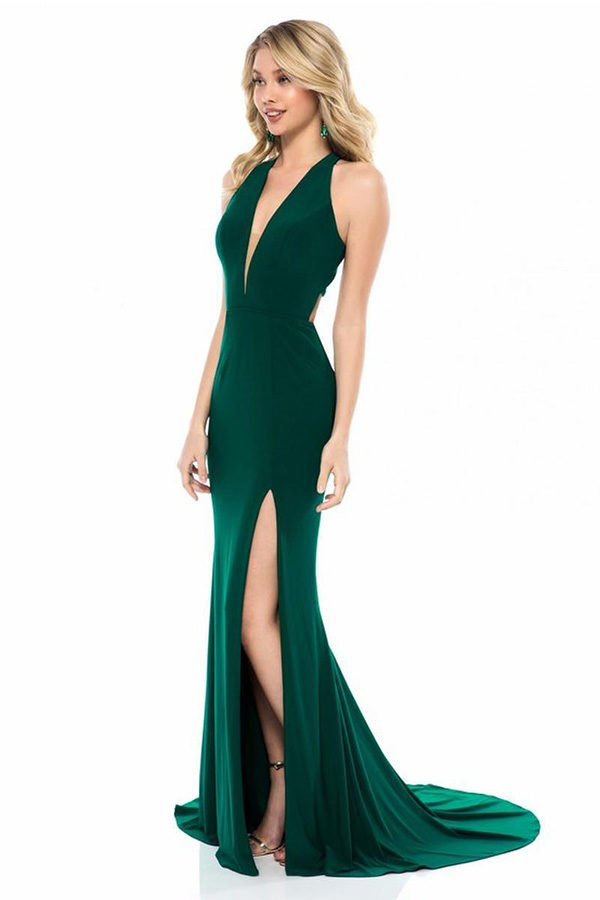 Hualong Sexy Deep V Side Split Emerald Green Maxi Dress