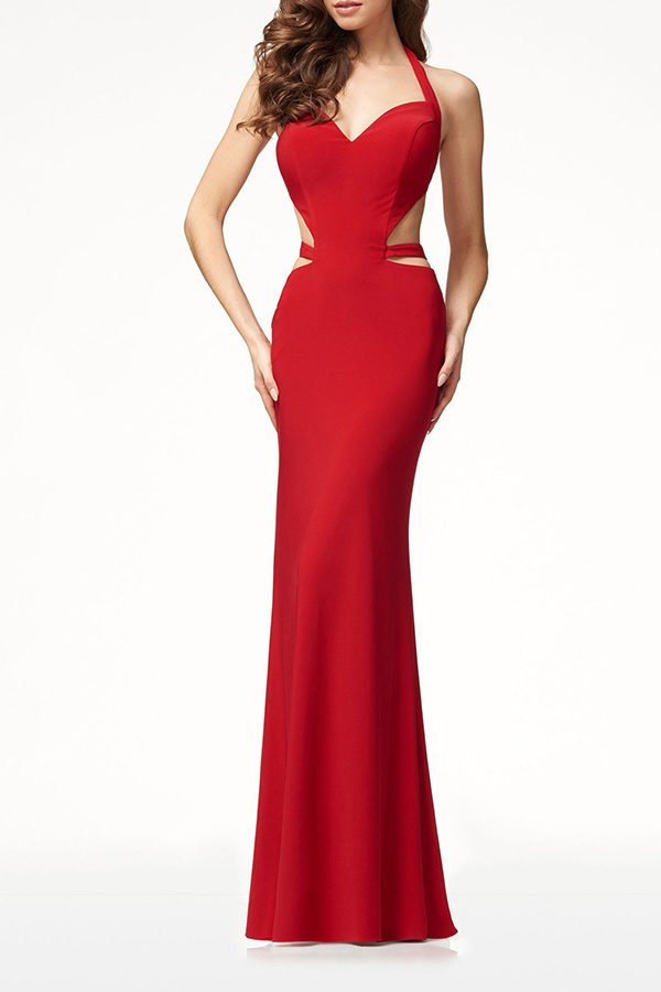 1ed25e6672 Hualong Sexy Halter Sleeveless Red Cut Out Maxi Dress - Online Store ...