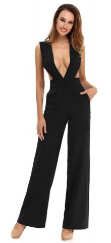 Hualong Sexy Sleeveless Cut Out Black Deep V Jumpsuit