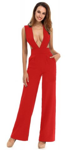 Hualong Sexy Sleeveless Cut Out V Neck Red Wide Leg Jumpsuit