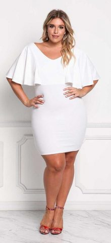 Hualong Sexy V Neck Fitted Plus Size White Dress
