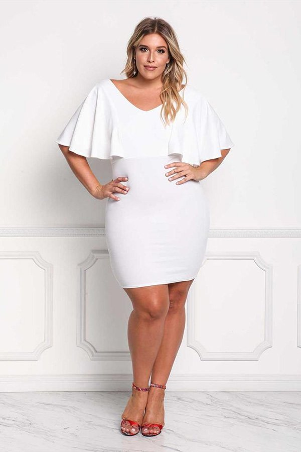 hualong sexy v neck fitted plus size white dress  online