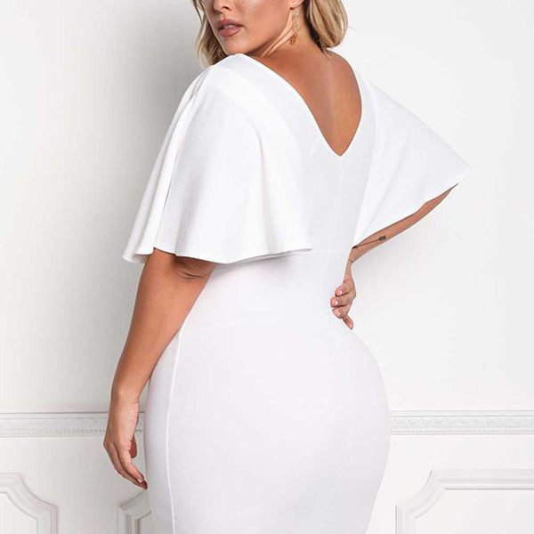 1aecd02ff3f Hualong Sexy V Neck Fitted Plus Size White Dress - Online Store for ...