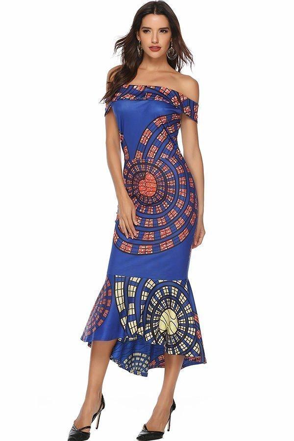 Hualong Cheap Party Elegant Off The Shoulder Print Dress