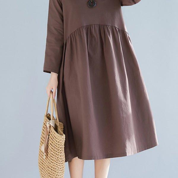 Hualong Cute Loose Plus Size Long Sleeve Linen Dress