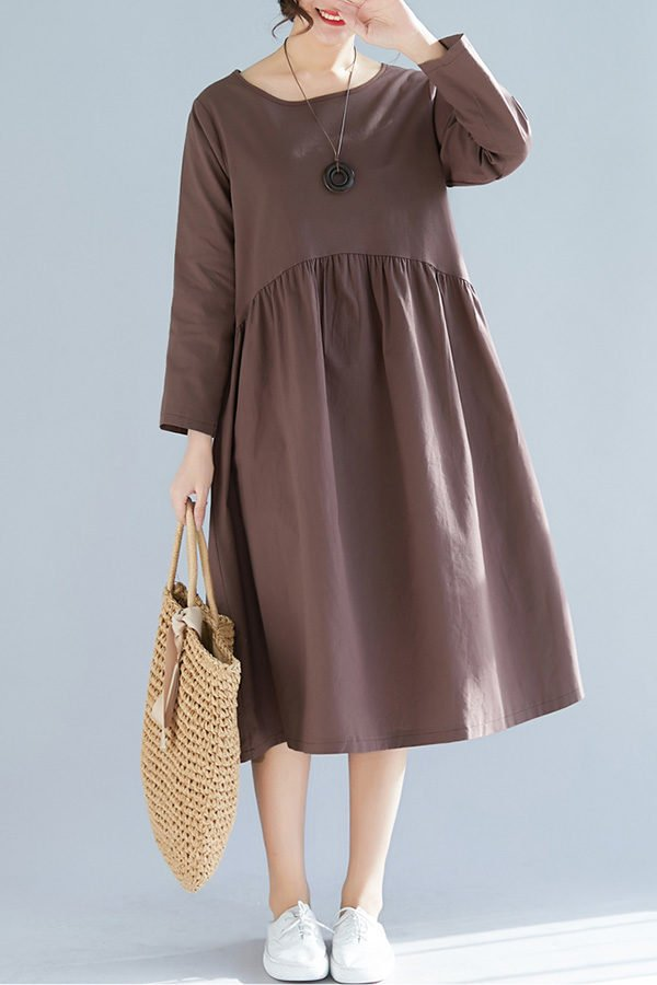 Hualong Cute Loose Plus Size Brown Long Sleeve Linen Dress
