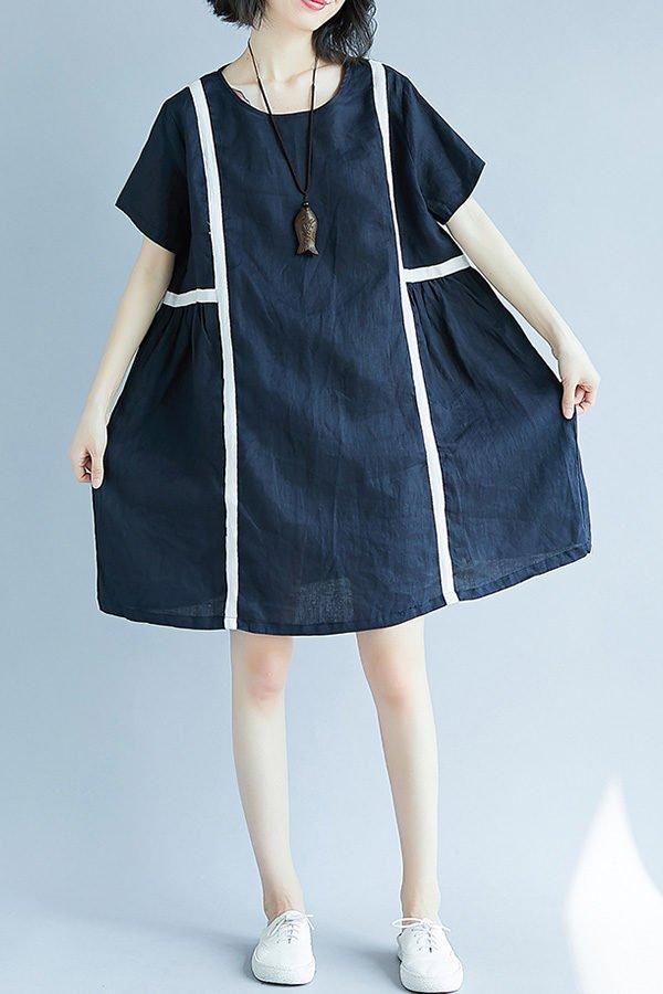 Hualong Cute Plus Size Short Sleeve Linen Summer Dresses