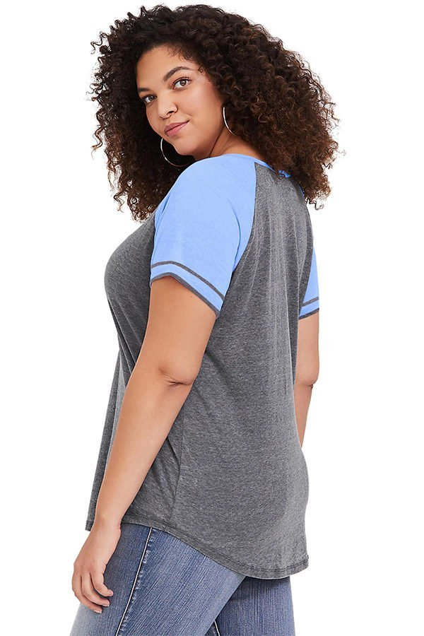Hualong Cute Short Sleeve Blue Plus Size Dressy Blouses