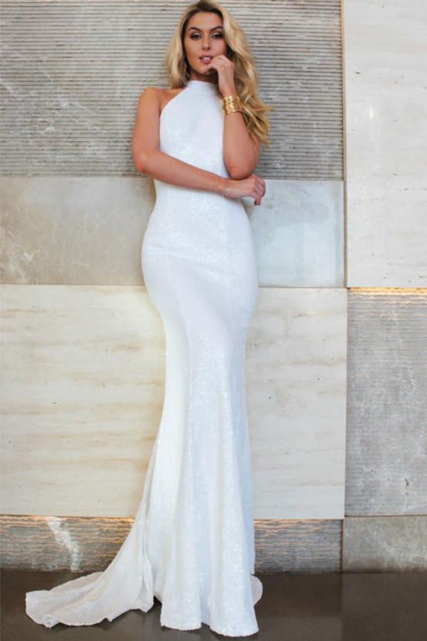 Hualong Elegant Party Backless White Floor Length Dress