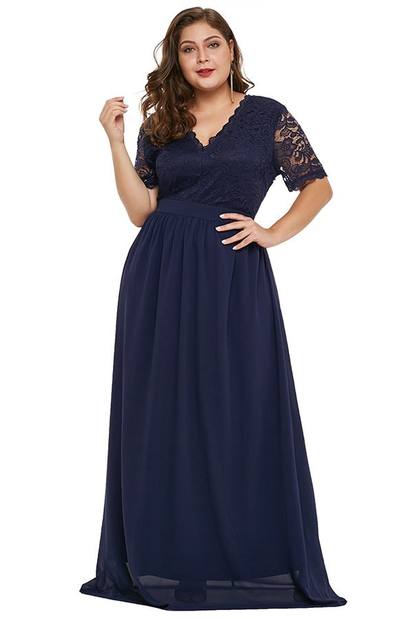 Hualong Elegant V Neck Blue Plus Size Evening Dresses