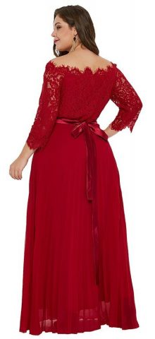 Hualong Sexy Red Off The Shoulder Plus Size Dresses With Sleeves