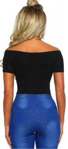 Hualong Sexy Short Sleeve Black V Neck Bodysuit