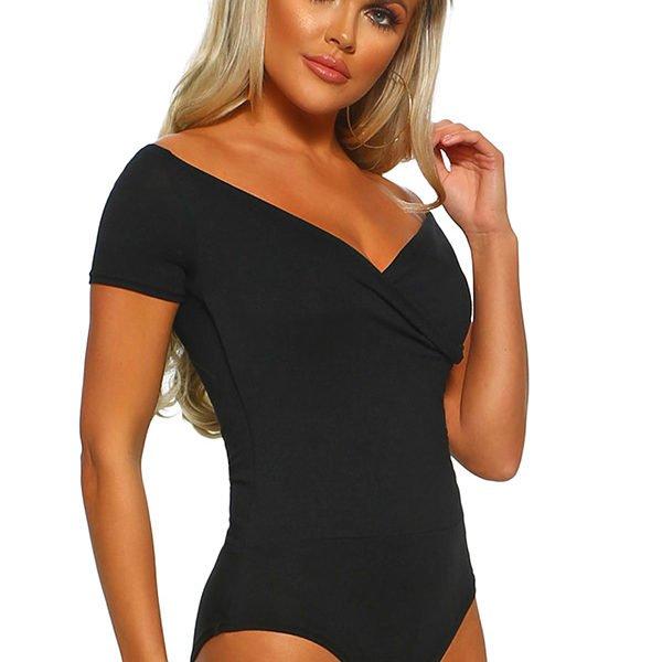 cc1b8eb7328f Hualong Sexy Short Sleeve Black V Neck Bodysuit - Online Store for ...